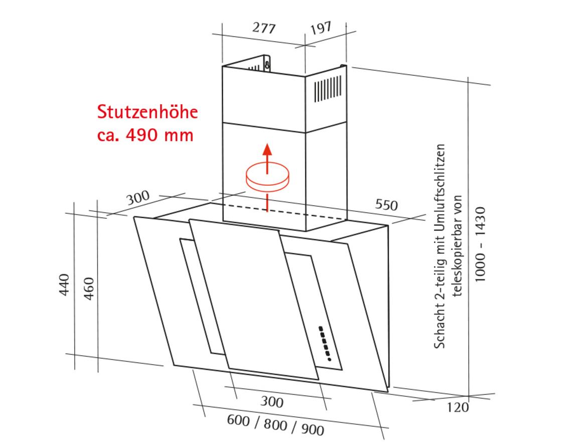 Dunstabzugshaube Montagehöhe schräghaube 6